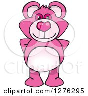 Clipart Of A Pink Teddy Bear Standing Royalty Free Vector Illustration by Dennis Holmes Designs