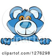 Clipart Of A Blue Teddy Bear Peeking Over A Sign Royalty Free Vector Illustration