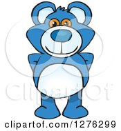 Clipart Of A Blue Teddy Bear Standing Royalty Free Vector Illustration