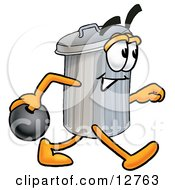 Clipart Picture Of A Garbage Can Mascot Cartoon Character Holding A Bowling Ball by Toons4Biz