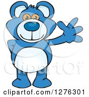 Clipart Of A Blue Teddy Bear Waving Royalty Free Vector Illustration