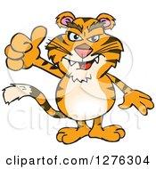 Clipart Of A Tiger Holding A Thumb Up Royalty Free Vector Illustration by Dennis Holmes Designs