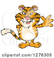 Clipart Of A Tiger Waving Royalty Free Vector Illustration by Dennis Holmes Designs