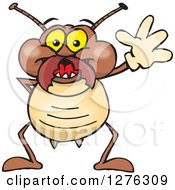 Clipart Of A Happy Termite Waving Royalty Free Vector Illustration by Dennis Holmes Designs