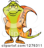 Clipart Of A Happy Swordtail Fish Standing Royalty Free Vector Illustration by Dennis Holmes Designs