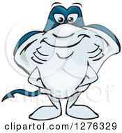 Clipart Of A Happy Sting Ray Standing Royalty Free Vector Illustration