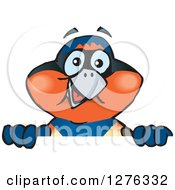 Clipart Of A Swallow Bird Peeking Over A Sign Royalty Free Vector Illustration