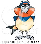 Clipart Of A Swallow Bird Standing Royalty Free Vector Illustration