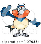 Clipart Of A Swallow Bird Holding A Thumb Up Royalty Free Vector Illustration by Dennis Holmes Designs