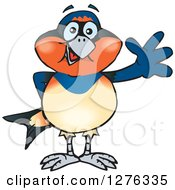 Clipart Of A Swallow Bird Waving Royalty Free Vector Illustration by Dennis Holmes Designs