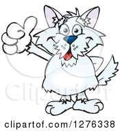 Clipart Of A White Terrier Dog Giving A Thumb Up Royalty Free Vector Illustration