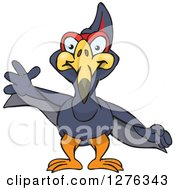 Clipart Of A Terradactyl Waving Royalty Free Vector Illustration