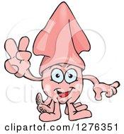 Happy Pink Squid Gesturing Peace