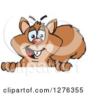Clipart Of A Happy Squirrel Peeking Over A Sign Royalty Free Vector Illustration