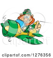 Happy Leprechaun Holding A Thumb Up And Flying A Plane