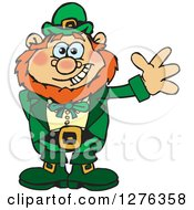 Clipart Of A Happy Leprechaun Waving Royalty Free Vector Illustration
