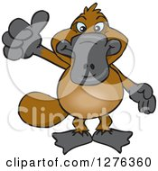 Clipart Of A Happy Platypus Holding A Thumb Up Royalty Free Vector Illustration by Dennis Holmes Designs