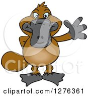 Clipart Of A Happy Platypus Waving Royalty Free Vector Illustration by Dennis Holmes Designs