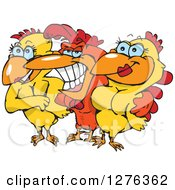 Clipart Of A Grinning Rooster With Two Pretty Hens Royalty Free Vector Illustration