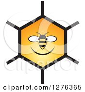 Clipart Of A Happy Bee And Honeycomb Face Royalty Free Vector Illustration