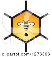 Clipart Of A Surprised Bee And Honeycomb Face Royalty Free Vector Illustration