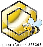 Clipart Of A Surprised Bee And Gold Honeycomb Royalty Free Vector Illustration