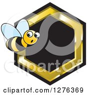 Clipart Of A Surprised Bee With A Black And Gold Honeycomb Royalty Free Vector Illustration