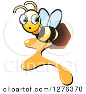 Clipart Of A Surprised Bee Flying With Dripping Honey Royalty Free Vector Illustration