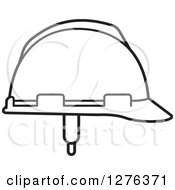 Clipart Of A Black And White Hardhat Royalty Free Vector Illustration by Lal Perera