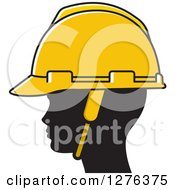 Clipart Of A Black Silhouetted Womans Head Wearing A Hardhat Royalty Free Vector Illustration by Lal Perera
