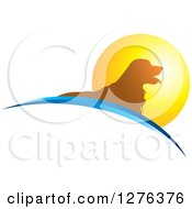 Clipart Of A Silhouetted Golden Retriever Dog Panting Over Swooshes In A Sunset Circle Royalty Free Vector Illustration