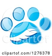 Clipart Of A Blue Paw Print With A Tail Royalty Free Vector Illustration by Lal Perera