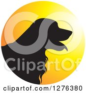 Clipart Of A Black Silhouetted Golden Retriever Dog Panting In A Sunset Circle Royalty Free Vector Illustration