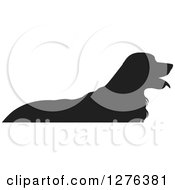 Clipart Of A Black Silhouetted Golden Retriever Dog Panting In Profile Royalty Free Vector Illustration