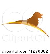 Clipart Of A Silhouetted Golden Retriever Dog Panting Over Swooshes Royalty Free Vector Illustration