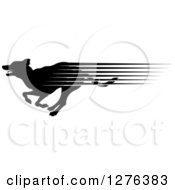 Clipart Of A Black Silhouetted Dog With Speed Streaks Running In Profile Royalty Free Vector Illustration by Lal Perera