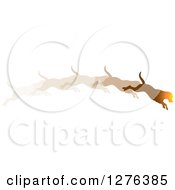 Clipart Of A Sunset Colored Leaping Dog Shown In Motion Royalty Free Vector Illustration by Lal Perera