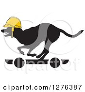 Clipart Of A Black Silhouetted Dog Wearing A Yellow Helmet And Riding A Skateboard Royalty Free Vector Illustration by Lal Perera