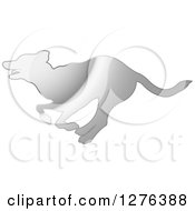 Clipart Of A Silver Silhouetted Dog Running In Profile Royalty Free Vector Illustration by Lal Perera