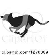 Clipart Of A Black Silhouetted Dog Running In Profile Royalty Free Vector Illustration by Lal Perera