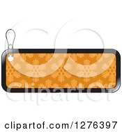 Clipart Of A Black And Orange Snowflake Patterned Christmas Retail Or Gift Tag Royalty Free Vector Illustration