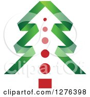 Clipart Of A Green Ribbon Christmas Tree With A Red Trunk Royalty Free Vector Illustration by Lal Perera
