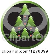 Clipart Of A Green And Black Round Icon Of Christmas Trees Royalty Free Vector Illustration by Lal Perera