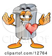 Clipart Picture Of A Garbage Can Mascot Cartoon Character With His Heart Beating Out Of His Chest