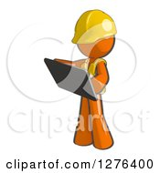 Clipart Of A Sketched Construction Worker Orange Man In A Vest Using A Tablet Computer Royalty Free Illustration