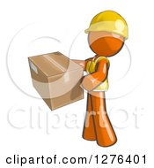 Clipart Of A Sketched Construction Worker Orange Man In A Vest Holding A Package Royalty Free Illustration