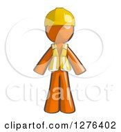 Clipart Of A Sketched Construction Worker Orange Man In A Vest Royalty Free Illustration