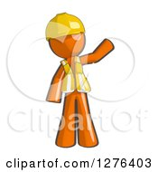 Clipart Of A Sketched Waving Construction Worker Orange Man In A Vest Royalty Free Illustration