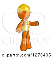 Clipart Of A Sketched Construction Worker Orange Man In A Vest Pointing To The Right Royalty Free Illustration