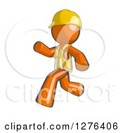 Clipart Of A Sketched Construction Worker Orange Man In A Vest Running To The Left Royalty Free Illustration